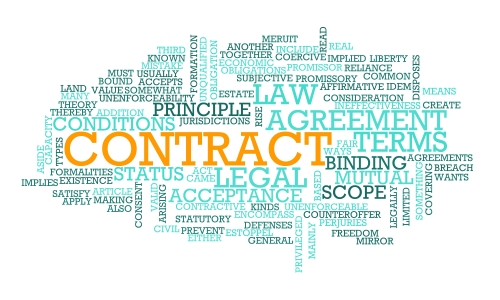 Word cloud of commercial and contract terms