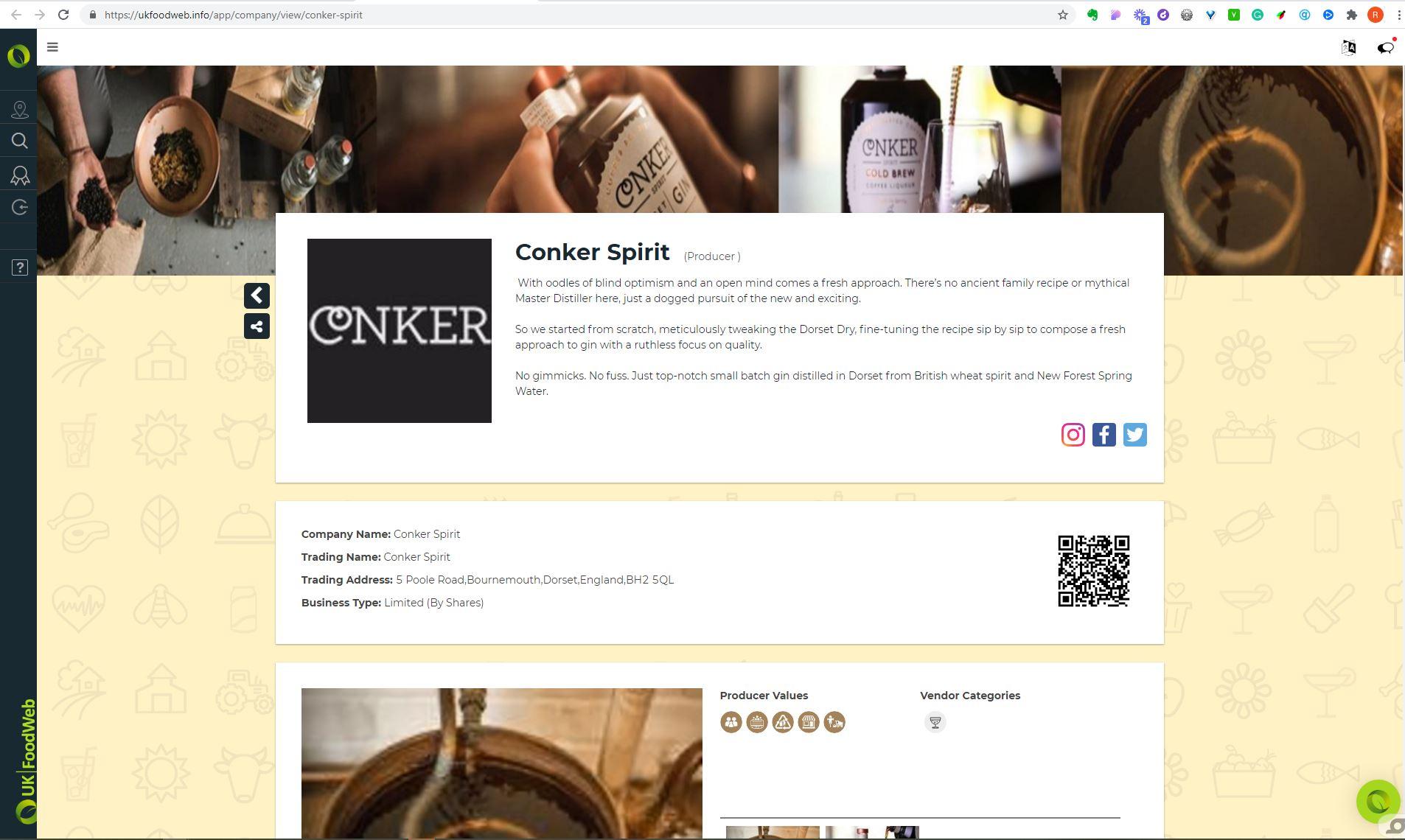 UKFoodWeb producer detail page screenshot