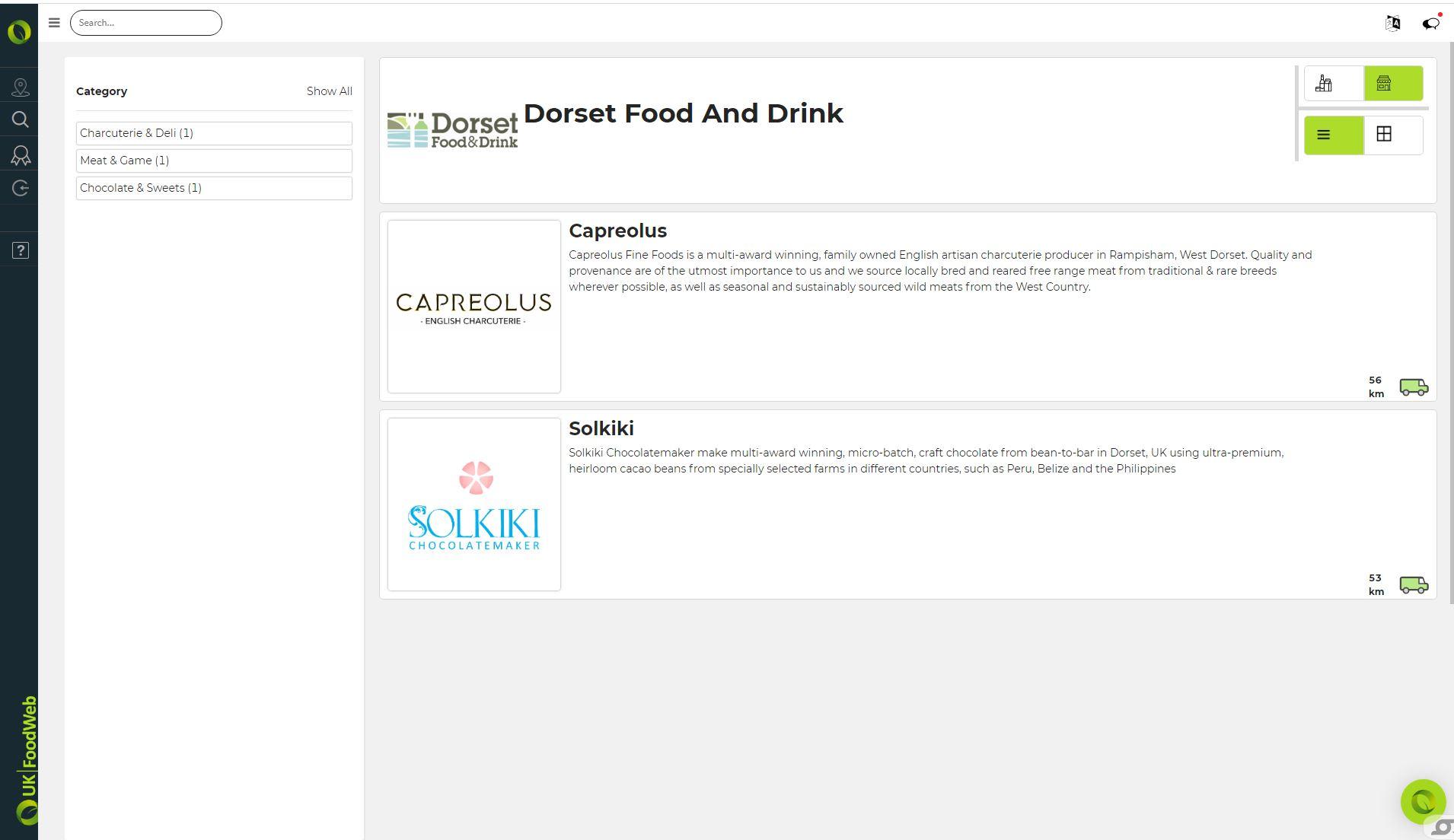 UKFoodWeb membership group producer list page screenshot