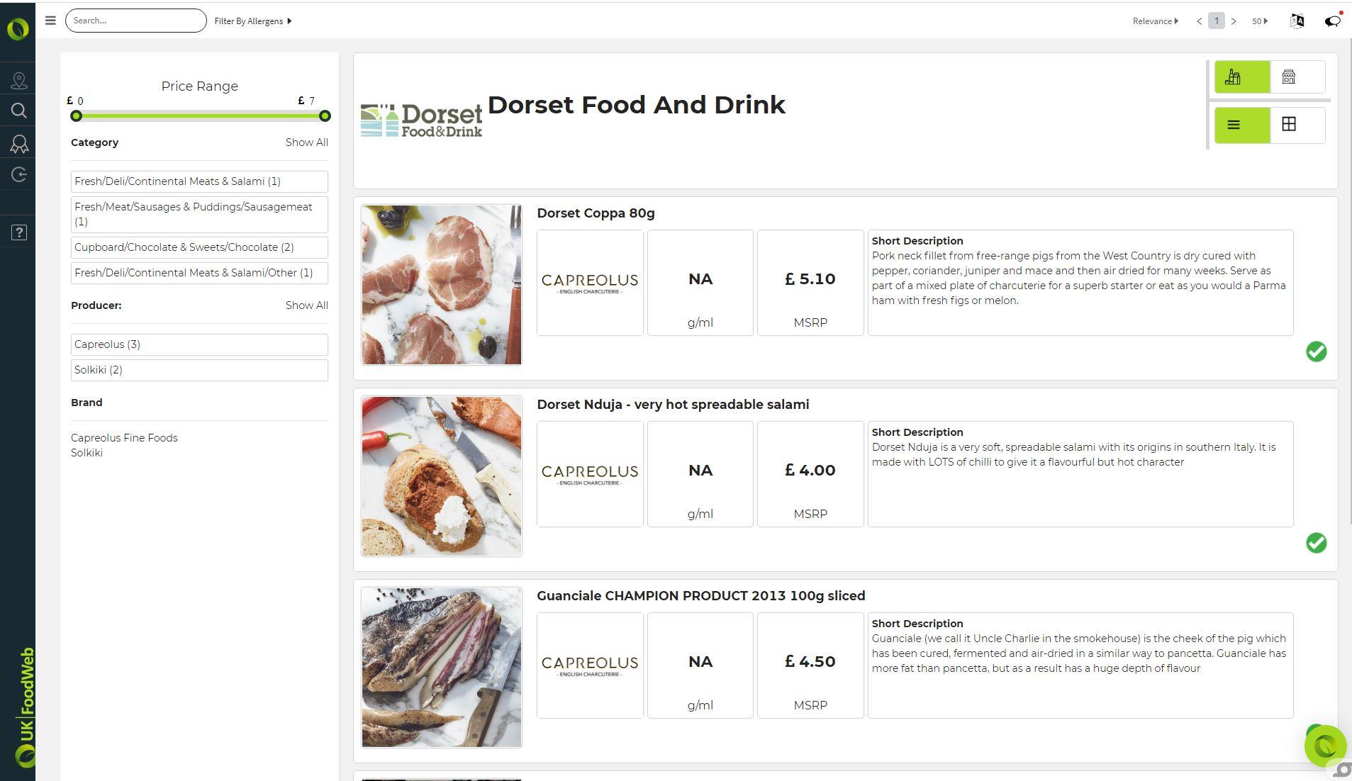 UKFoodWeb food group member product listings