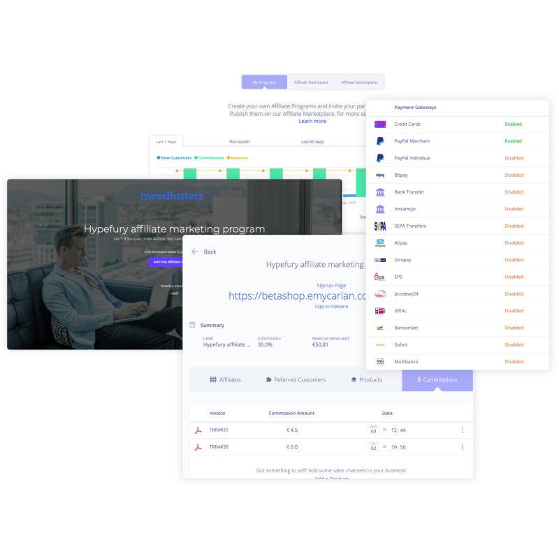 plug&paid affiliate system screenshot